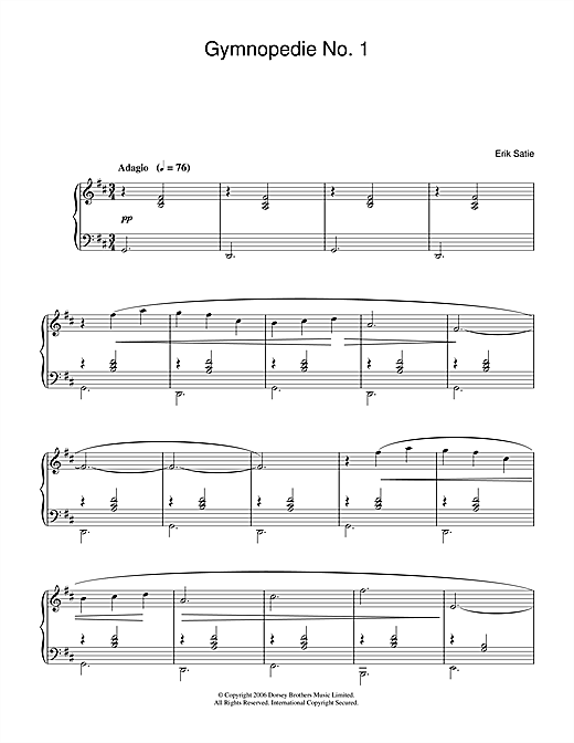 Gymnopedie No. 1 Sheet Music
