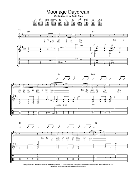 Moonage Daydream Sheet Music
