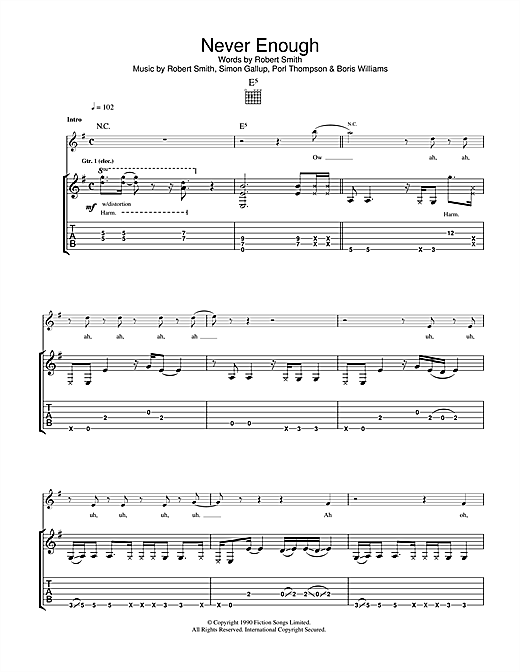 Tablature guitare Never Enough de The Cure - Tablature Guitare
