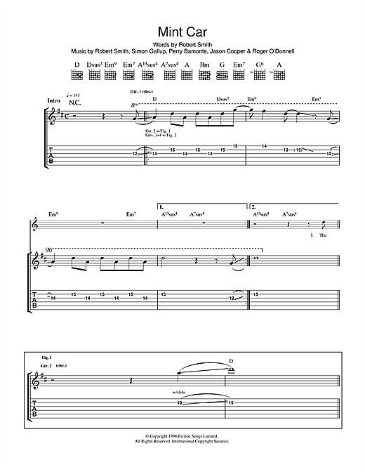 Tablature guitare Mint Car de The Cure - Tablature Guitare
