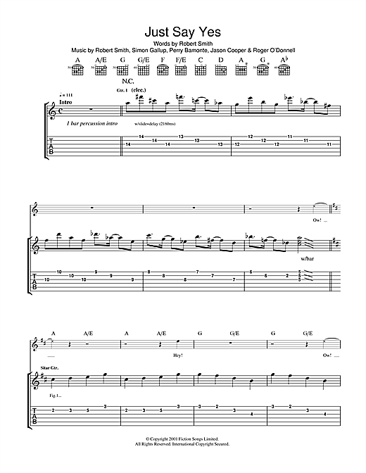 Just Say Yes Sheet Music