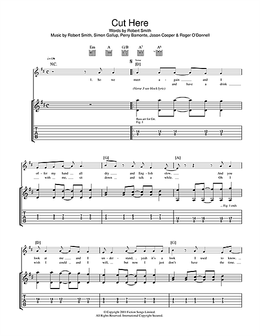 Cut Here Sheet Music