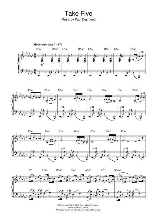 Take 5 partition piano