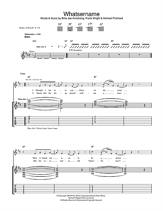 Whatsername Sheet Music