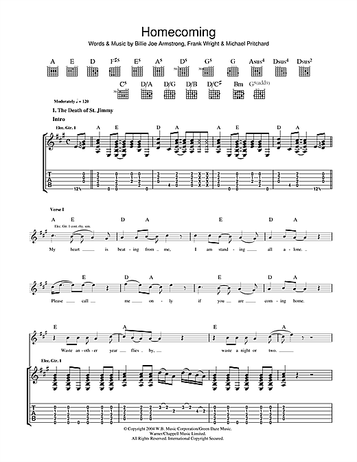 Tablature guitare Homecoming de Green Day - Tablature Guitare
