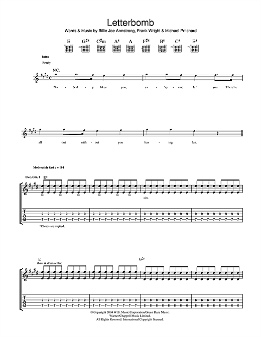 Letterbomb Sheet Music