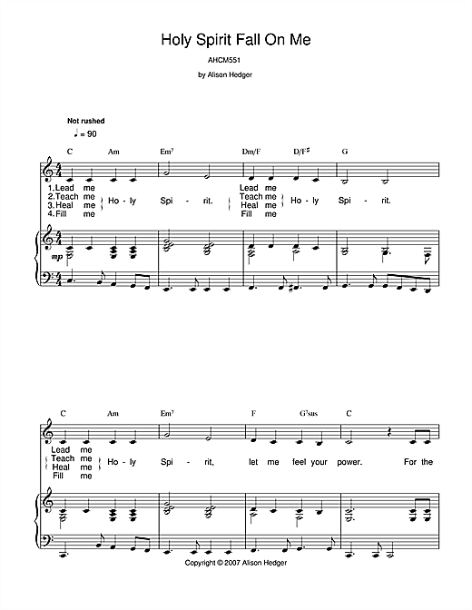 Holy Spirit Fall On Me Sheet Music