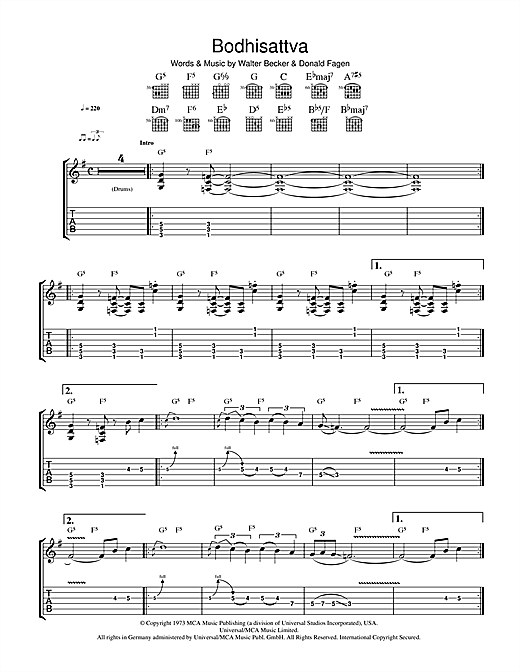 Tablature guitare Bodhisattva de Steely Dan - Tablature Guitare