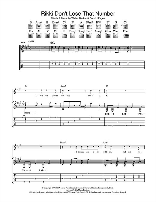 Rikki Don't Lose That Number (Guitar Tab)
