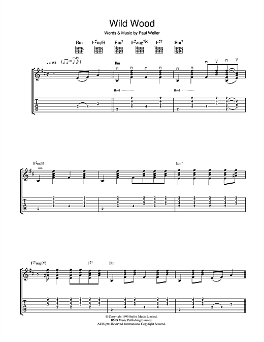 Tablature guitare Wild Wood de Paul Weller - Tablature Guitare