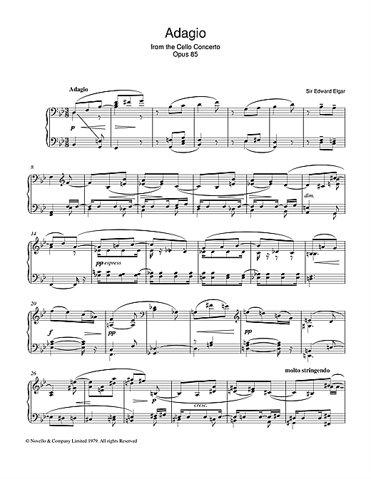 Adagio From The Cello Concerto Opus 85 Sheet Music