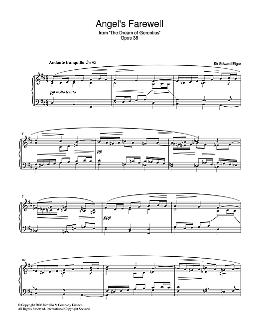 Angel's Farewell From The Dream Of Gerontius Op.38 Sheet Music