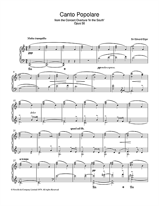 Canto Popolare (from In The South, Op.50) (Piano Solo)