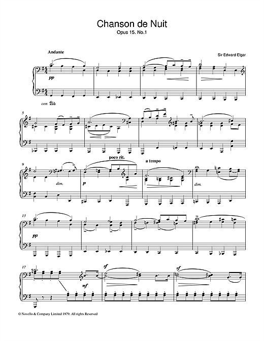 Partition piano Chanson De Nuit Op.15, No.1 de Edward Elgar - Piano Solo