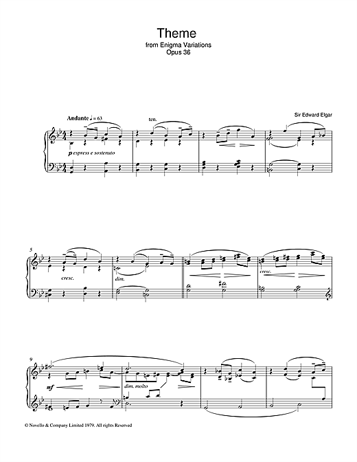 Partition piano Theme from The Enigma Variations, Op.36 de Edward Elgar - Piano Solo