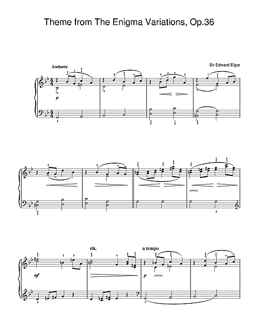 Partition piano Theme from The Enigma Variations, Op.36 de Edward Elgar - Piano Facile