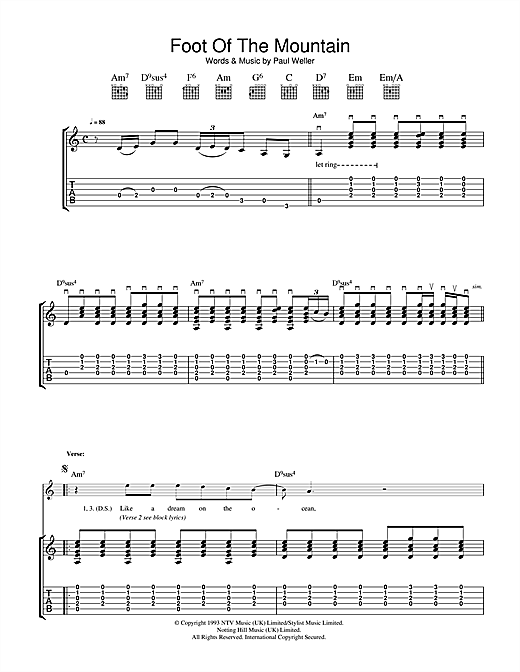 Tablature guitare Foot Of The Mountain de Paul Weller - Tablature Guitare