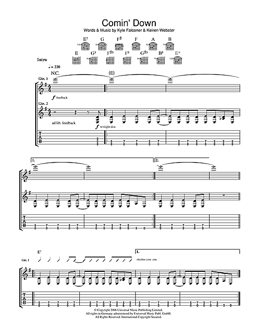Comin' Down Sheet Music
