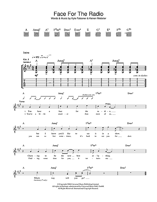 Face For The Radio Sheet Music