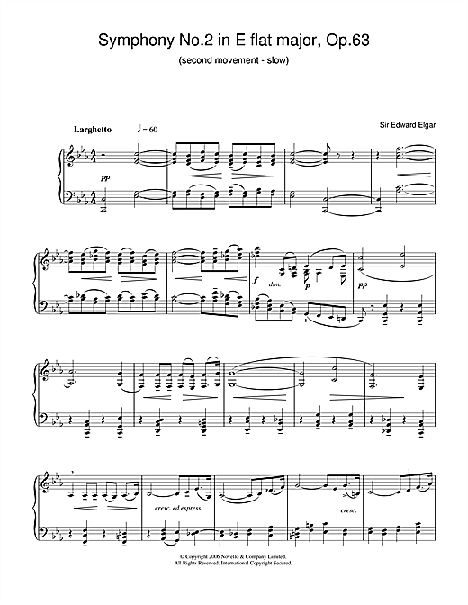 Symphony No.2 In E Flat Major, Op.63 (2nd Movement - slow) Sheet Music