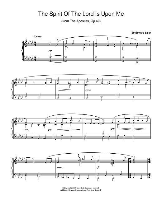 The Spirit Of The Lord Is Upon Me (from The Apostles, Op.49) (Easy Piano)