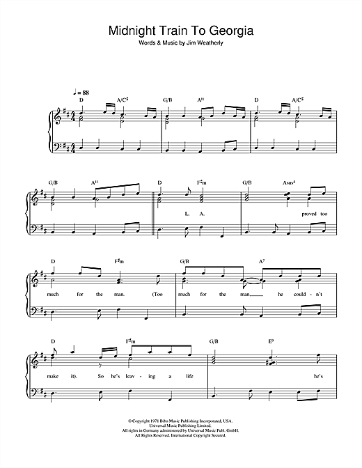 Midnight Train To Georgia Sheet Music