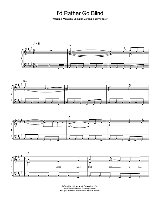 Partition piano I'd Rather Go Blind de Etta James - Piano Facile