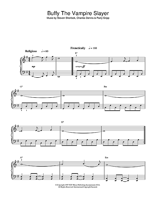 Theme from Buffy The Vampire Slayer Sheet Music