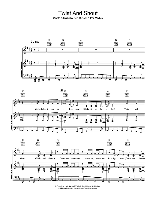 Twist And Shout (Piano, Vocal & Guitar (Right-Hand Melody))