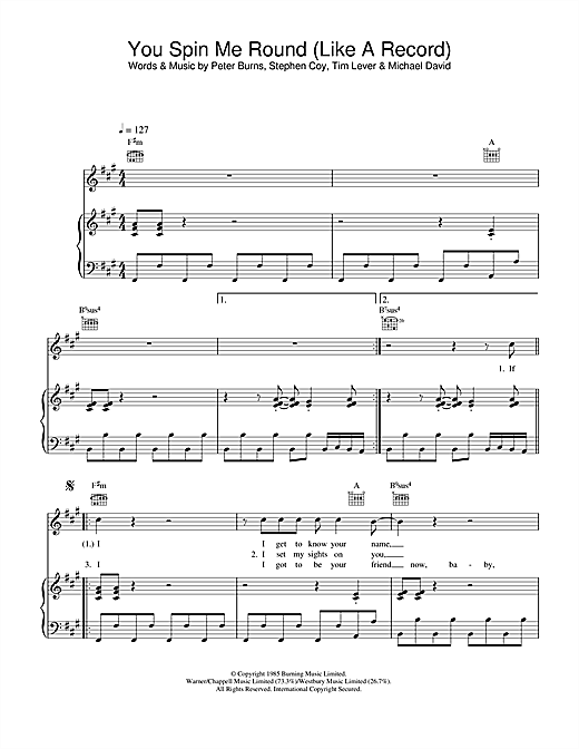 You Spin Me Round (Like A Record) Sheet Music