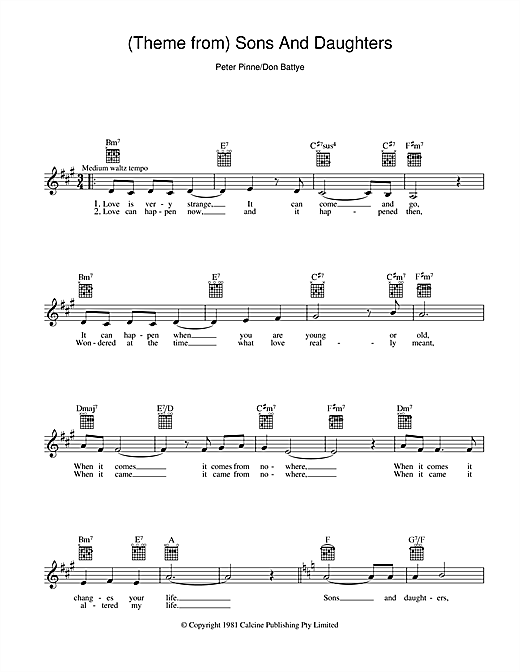 Theme From Sons And Daughters chords by Peter Pinne (Melody Line ...