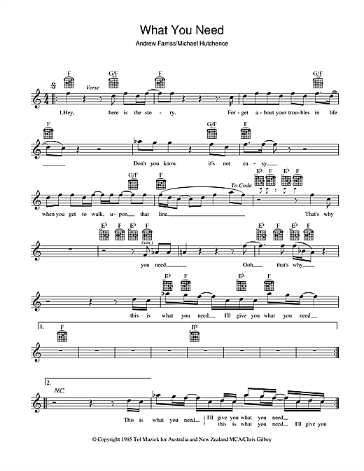 What You Need (Lead Sheet / Fake Book)