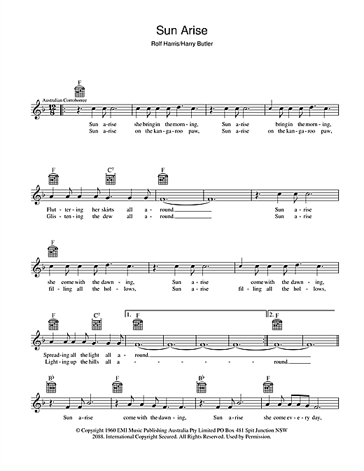Sun Arise Sheet Music
