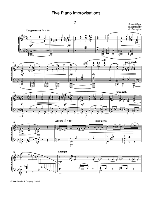 Five Piano Improvisations: 2. Largamente Sheet Music