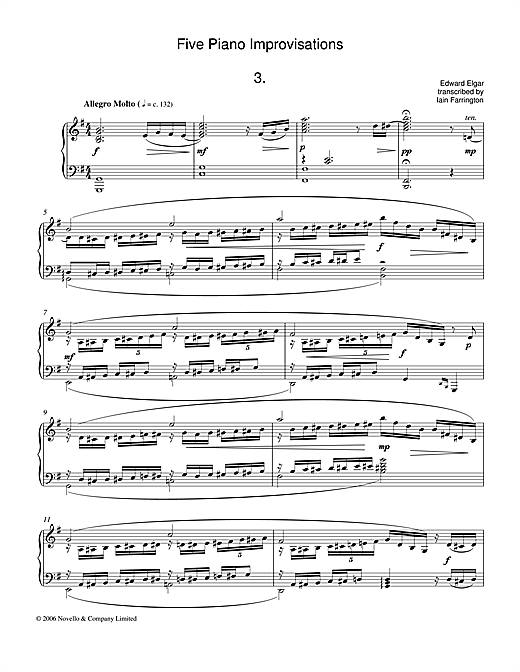 Five Piano Improvisations: 3. Allegro Molto Sheet Music
