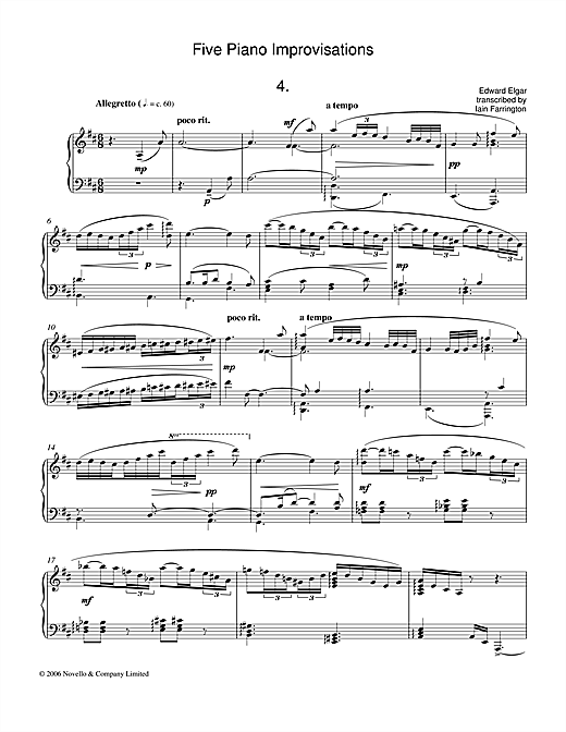 Five Piano Improvisations: 4. Allegretto Sheet Music