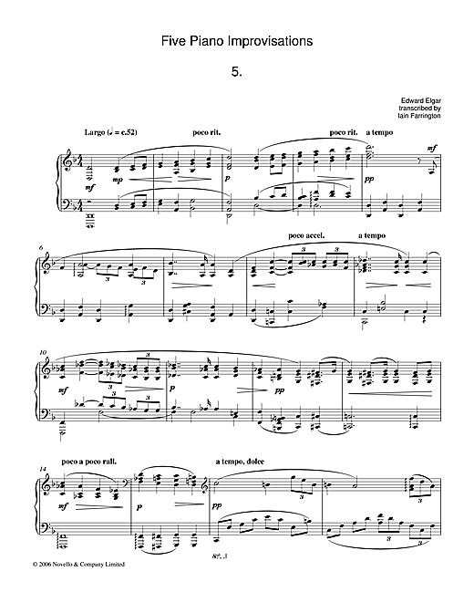 Five Piano Improvisations: 5. Largo Sheet Music