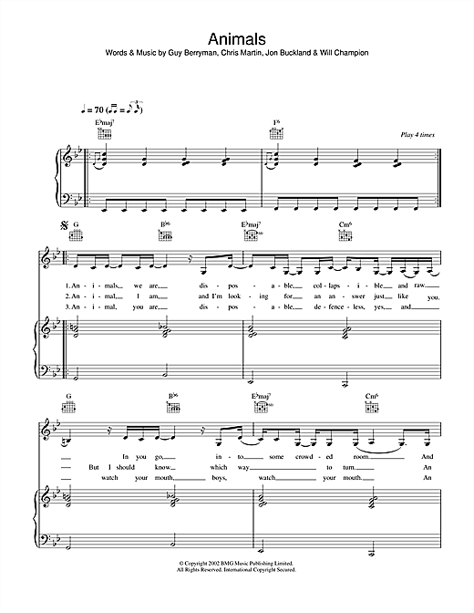Animals Sheet Music