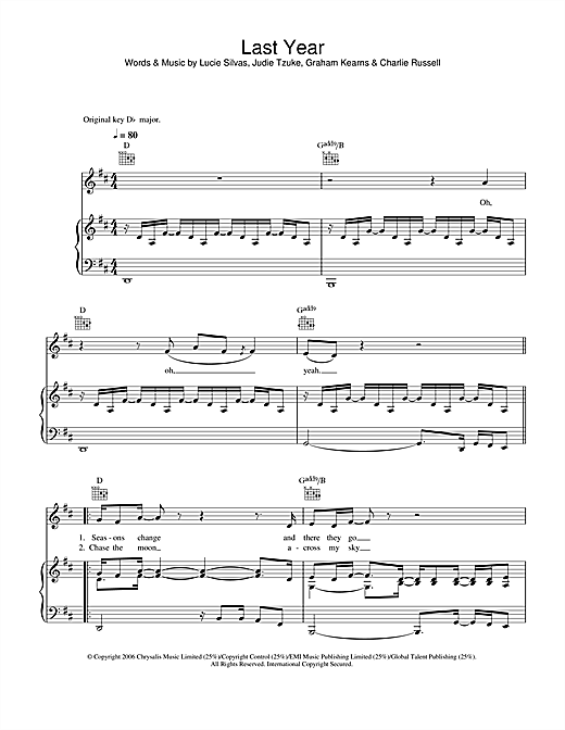 Last Year Sheet Music
