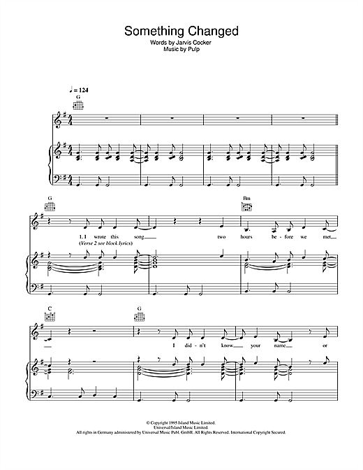 Something Changed Sheet Music