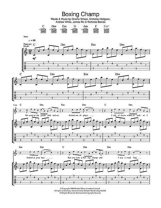 Boxing Champ Sheet Music