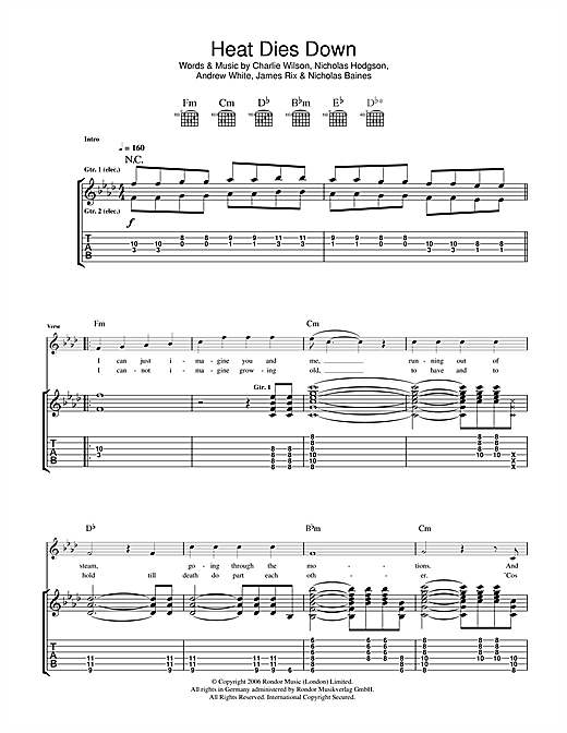 Heat Dies Down Sheet Music
