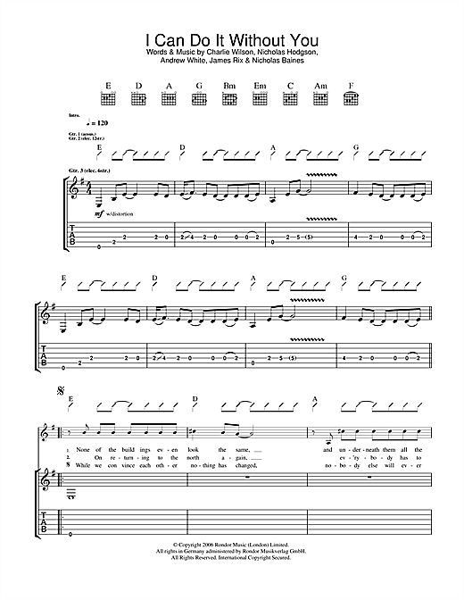 Tablature guitare I Can Do It Without You de Kaiser Chiefs - Tablature Guitare