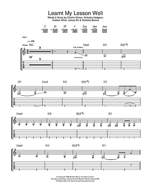 Tablature guitare Learnt My Lesson Well de Kaiser Chiefs - Tablature Guitare