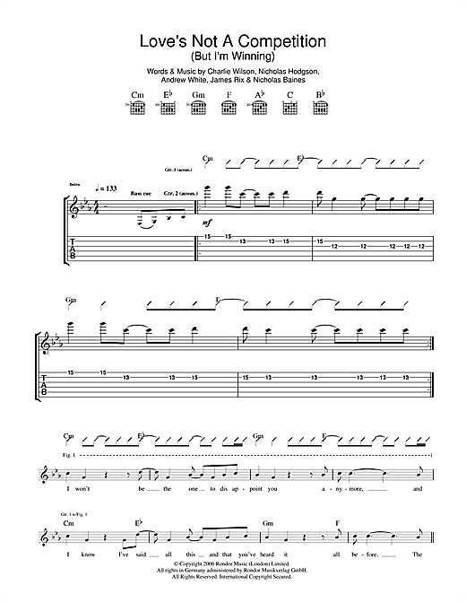 Tablature guitare Love's Not A Competition (But I'm Winning) de Kaiser Chiefs - Tablature Guitare