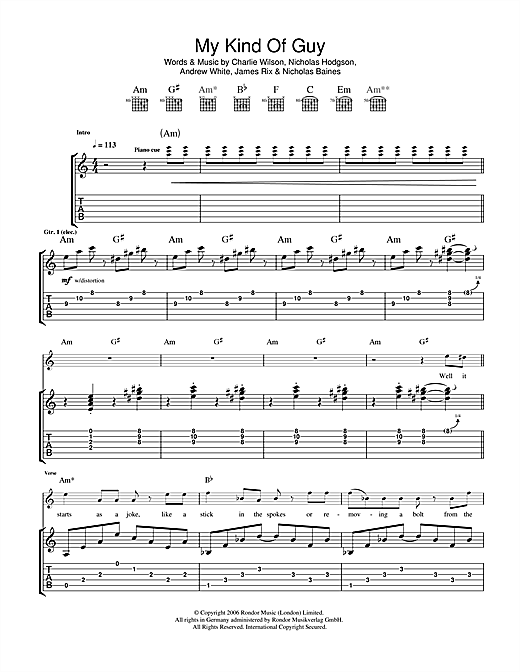 Tablature guitare My Kind Of Guy de Kaiser Chiefs - Tablature Guitare