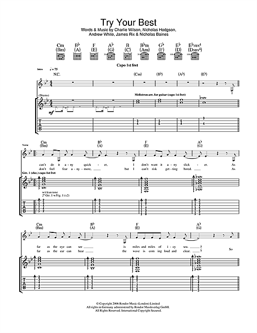 Tablature guitare Try Your Best de Kaiser Chiefs - Tablature Guitare