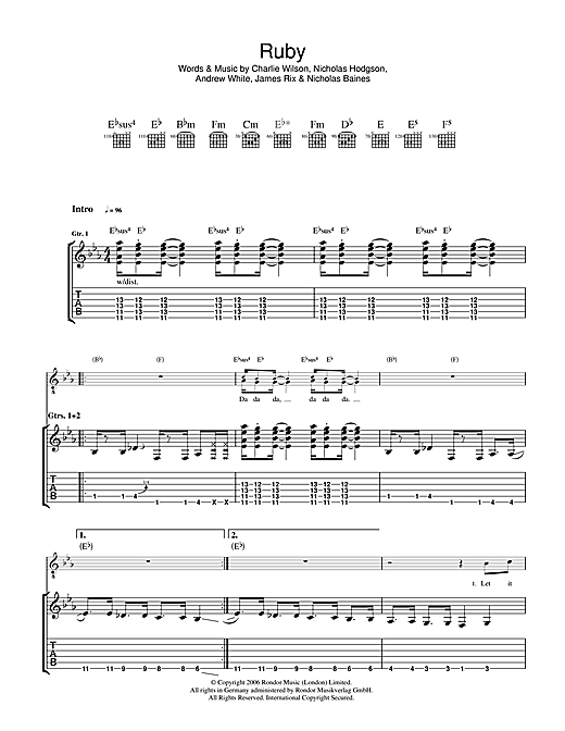 Tablature guitare Ruby de Kaiser Chiefs - Tablature Guitare