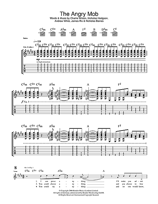 Tablature guitare The Angry Mob de Kaiser Chiefs - Tablature Guitare