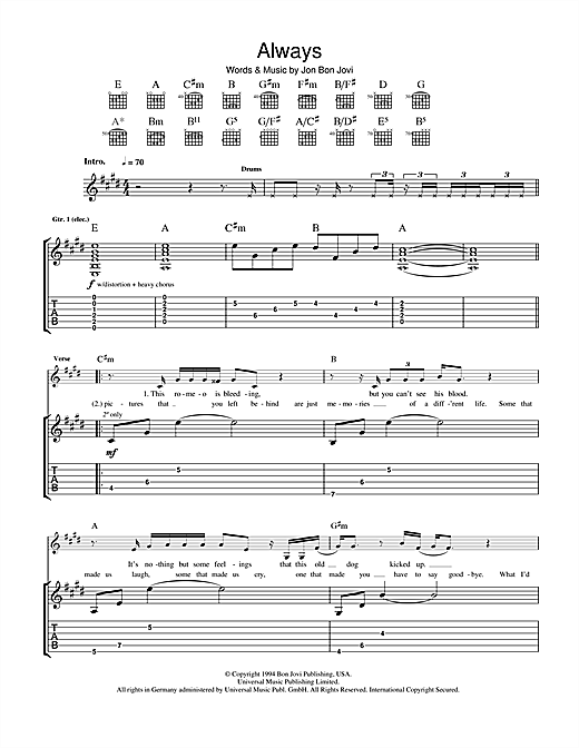 Tablature guitare Always de Bon Jovi - Tablature Guitare
